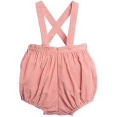 Baby girls vintage-inspired pink bloomer dungarees by Caramel Baby & Child in soft cotton cord. In a traditional, timeless style the waistband and legs are elasticated and there are poppers between the legs. They have straps that cross over at the backand fasten with buttonsat the front.<br /> <ul> <li>100% cotton (textured, corduroy feel)</li> <li>Machine wash (30*C)</li> <li>Button fastening shoulder straps</li> <li>Popper fastening between the legs</li> </ul>