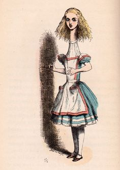 Alice stretched tall - Alice's Adventures in Wonderland by Lewis Carroll, illustrated by John Tenniel with illustrations colored by Fritz Kredel (1946 edition)