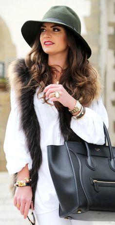 #winter #fashion / White Dress + Faux Fur Scarf