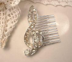 Vintage Clear Rhinestone Musical Note Bridal Hair Comb, Heirloom Crystal Encrusted Silver Treble Clef Brooch to OOAK Hair Comb
