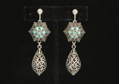 Vintage Style Filigree Silvertone Dangle Clip On Earrings Accented with Aqua…