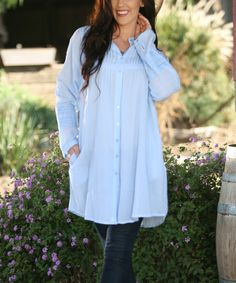 Vintage Blue Crochet Button-Up Tunic
