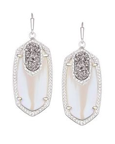 Emmy Drop Earrings in Platinum Orbit - Our classic smaller statement oval earrings, Elle, are given a sparkly twist with a platinum drusy accents by Kendra Scott.