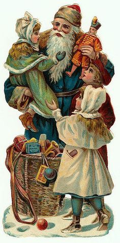 antique Santa in blue robe with woven basket of toys at his feet - holds a little girl, other children look on