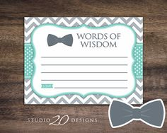 Instant Download Aqua and Grey Chevron Bowtie Advice Cards by Studio20Designs. Download and print at home or at a commercial printer for your Little Man theme baby shower.