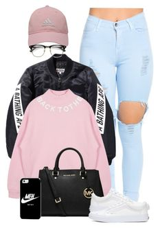 A fashion look from May 2016 featuring pink top, flight jackets and high-waisted skinny jeans. Browse and shop related looks. Adidas Golf, Casetify, Buy Now, Bathing, Vans, Tomboys, Michael Kors, Shoe Bag, Usa