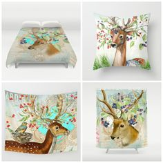 NEW theme on store #deer #animal #winter Available in different #homedecor products. Check more designs at society6.com/julianarw #duvetcover #pillow #walltapestry #bedspread #showercurtain