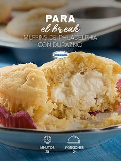 Tómate un ratito para consentirte con estos Muffins de Philadelphia con durazno. #recetas #receta #quesophiladelphia #philadelphia #crema #quesocrema #queso #comida #cocinar #cocinamexicana #recetasfáciles #durazno #muffins #cupcake #postres #postre #relleno #recetaspostres #muffin