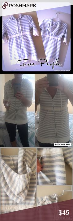 """Free People hooded zip up tunic S Intimately Free People hooded zip up, 3/4 sleeves tunic top with front pockets! Gray and cream stripes throughout with stretchy banded waist. Tie hood, cream detail threading on shoulders, pockets, cuffs, and hem. 26.5"""" long, 17.5"""" bust. Gently worn. Feel free to make an offer.💖 Free People Tops Tunics"""