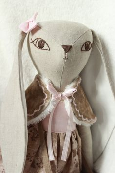 Bunny doll, heirloom doll, cloth doll, ragdoll by HoppDolls on Etsy
