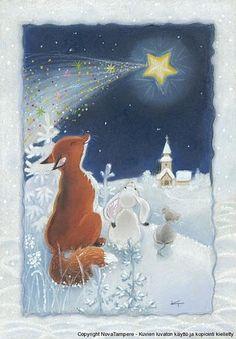 Kaarina Toivanen 048. Falling star. Swedish Christmas, Whimsical Christmas, Christmas Art, Vintage Christmas, Illustration Noel, Christmas Illustration, Illustrations, I Love Winter, Winter Wonder