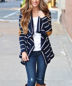 Another great find on #zulily! Navy & White Stripe Open Cardigan #zulilyfinds  $34.99  Love the elbows.