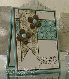 Designed by Julie Marshall...love the color combo and paper ribbon look