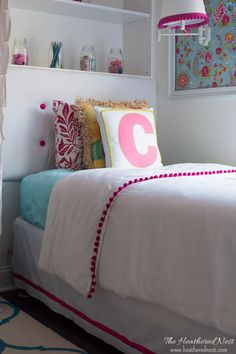 DIY tufted upholstered headboard from www.heatherednest.com