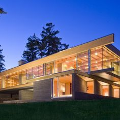 Gulf Islands Residence: Location: British Columbia, Canada Year of Construction: 2011  Architects: RUFproject  Spanning long distances, large gluelam beams frame and support the volumes of this home.