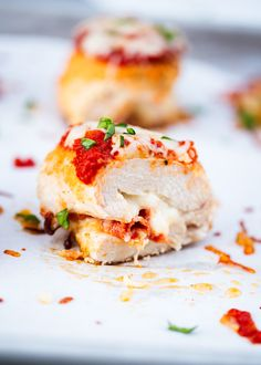 Pizza Chicken Roll Ups recipe ...a tender chicken breast stuffed with mozzarella cheese, pepperoni and marinara sauce. Easy, healthy and delicious!