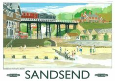 Sandsend Near Whitby North Yorkshire Posters Uk, Train Posters, Railway Posters, Retro Posters, British Travel, British Seaside, British Isles, Tourism Poster, North Yorkshire