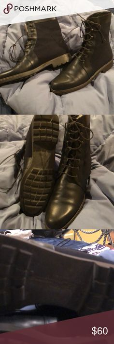 Salvatore Ferragamo combat lace up boot 6.5 Great shape!  Beautifully made all leather with rubber sole.  Front lace.  Outside is leather and canvas material.  No major damage minor scrapes Salvatore Ferragamo Shoes Lace Up Boots