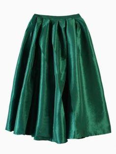 Shop Green Midi Skater Skirt from choies.com .Free shipping Worldwide.