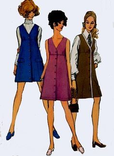 Vintage 1960s V Neckline Mini Jumper Sewing Pattern Simplicity 8282 60s MAD MEN Sewing Pattern Size 12 Bust 34 Uncut