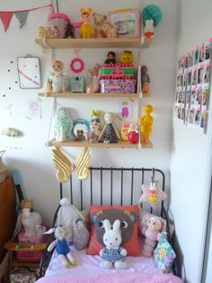 J'aurais pu m'appeler Marcel...vintage retro kids room colorful flag bunting, tumble doll, Woodland doll, Heico lamps and toy piano, and soft toys by Lucky Boy Sunday. #bunnyincognito