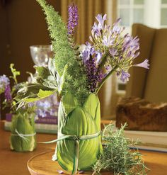 Eye catching flower arrangement with hosta leaves