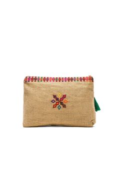 Star Mela Peri Embroidered Purse en Natural & Rojo | REVOLVE