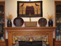 56 best images about Primitive Primitive Fireplace, Fireplace Mantels, Mantles, Fireplace Ideas, Fireplaces, Primitive Country Homes, Primitive Crafts, Prim Decor, Country Decor