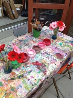 """Inviting painting table at Methodist Preschool in the Palisades, image shared by The Inspired Child ("""",)"""