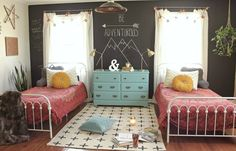 17 delightful kids' rooms that are more stylish than yours Boho-inspired shared bedroom for teen girls. Teen Girl Rooms, Teenage Girl Bedrooms, Little Girl Rooms, Girls Bedroom, Bedroom Ideas, Bedroom Decor, Teen Shared Bedroom, Budget Bedroom, Bedroom Furniture