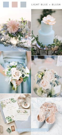 Top 6 Light Blue Wedding Color Palette Ideas for Spring Summer Wedding Lavender Wedding Colors, Elegant Wedding Colors, Summer Wedding Colors, Spring Wedding, Wedding Flowers, Sky Blue Weddings, Blush Pink Weddings, Wedding Blush, 2017 Wedding
