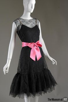 Dress, Balenciaga, ca. 1957, French; Black net lace, black silk crepe and pink satin ribbon; via The Museum at FIT