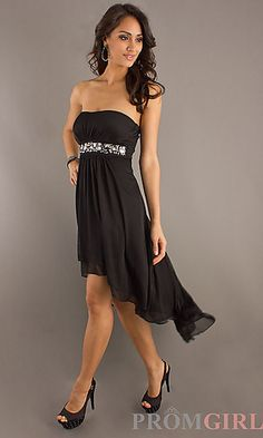 Strapless Black High Low Dress at PromGirl.com