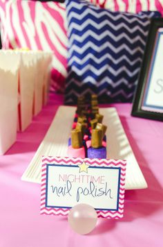 Marshmallow and tootsie roll nail polish at a slumber party!  See more party ideas at CatchMyParty.com!  #partyideas #girlbirthday