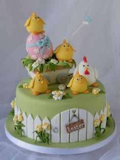 Celebrating Easter in style with a Chocolate Egg - Cake by Marlene - CakeHeaven Easter Cupcakes, Easter Cookies, Easter Treats, Easter Cake Fondant, Bolo Chanel, Chicken Cake, Desserts Ostern, Egg Cake, Spring Cake