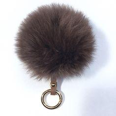 Fur bag charm fur pom pom keychain fur ballkeyring purse pendant in brown