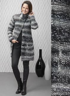 Modèle gratuit : manteau en maille XL  à tricoter au point mousse et point… Hand Knitted Sweaters, Knitted Shawls, Crochet Cardigan, Knit Crochet, Point Mousse, Crochet Woman, Sweater Design, Knit Jacket, Knit Fashion