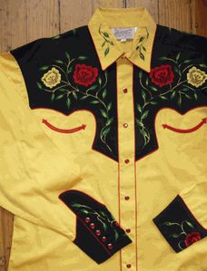 Yellow Rose of Texas: Vintage Two Tone Gold and Black Floral Embroidered Tapered Shirt