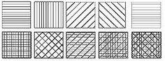 arceren = vele lijnen naast en over elkaar getekend. er zijn vele soorten