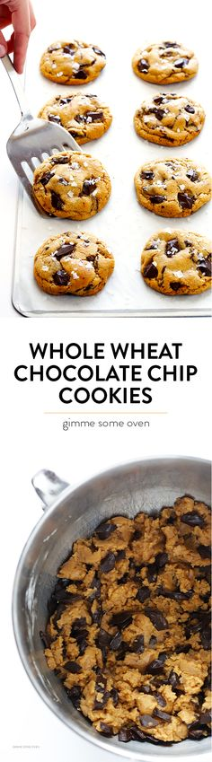 These Salted Whole Wheat Chocolate Chip Cookies are easy to make, they're perfectly soft and chewy, and unbelievably delicious! | gimmesomeoven.com