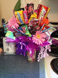 Candy bouquet for wedding shower priZe ! Hot glue candy wrappers to kabob sticks. Get a floral that fits in vase. Use wrapping paper and keep adding ! Wedding Shower Prizes, Raffle Baskets, Gift Baskets, Fundraising Games, Cobalt Blue Weddings, Dream Wedding, Wedding Dreams, Wedding Stuff, Unique Bridal Shower Gifts