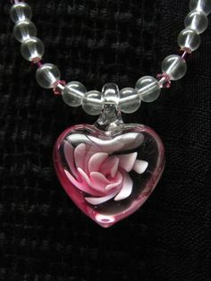 Pink Flower and Crystal Necklace