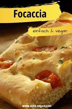 Leckeres Focaccia aus der Pfanne. #focaccia #vegan #veganessen #veganerezepte #schnellerezepte #abendessen #rezept Hot Dog Buns, Hot Dogs, Bread, Food, Vegan Bread, Vegan Scones, Vegane Rezepte, Brot, Essen