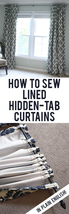 DIY Curtains and Drapery Ideas Easy, straightforward steps to making your own black-out lined back-tab curtains!Easy, straightforward steps to making your own black-out lined back-tab curtains! Sewing Hacks, Sewing Tutorials, Sewing Crafts, Sewing Projects, Diy Projects, Diy Crafts, Sewing Diy, Sewing Patterns, Fabric Crafts