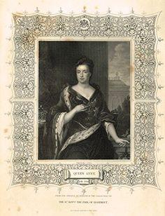 Fancy Royal Portraits by Tallis- QUEEN ANNE - Steel Engraving - c1840