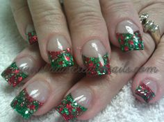 Green and Red Xmas nails by Addicted to Nails