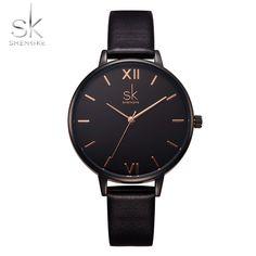 Nova Marca SK Relógio Banda Mulheres De Couro À Prova D' Água Senhoras Moda Casual Relógio de Quartzo Relógio de Vestido Relógios Relogio feminino Shengke em Relógios das mulheres de Relógios no AliExpress.com | Alibaba Group