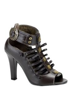 Victorian inspired come in gold too. Heel Height: Approx. 4'' Tall. This vintage inspired has a strappy shape and a Steampunk edge.