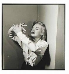 """1949. Marilyn Monroe for a LIFE magazine article called """"Eight girls try out mixed emotions"""", October 10th,1949. Action: Danser . Photo by Philippe Halsman."""
