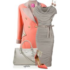 A fashion look from March 2015 featuring flare wool coat, pointed toe pumps and gray handbags. Browse and shop related looks.